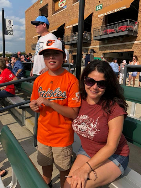 Child and mother at mud hens game